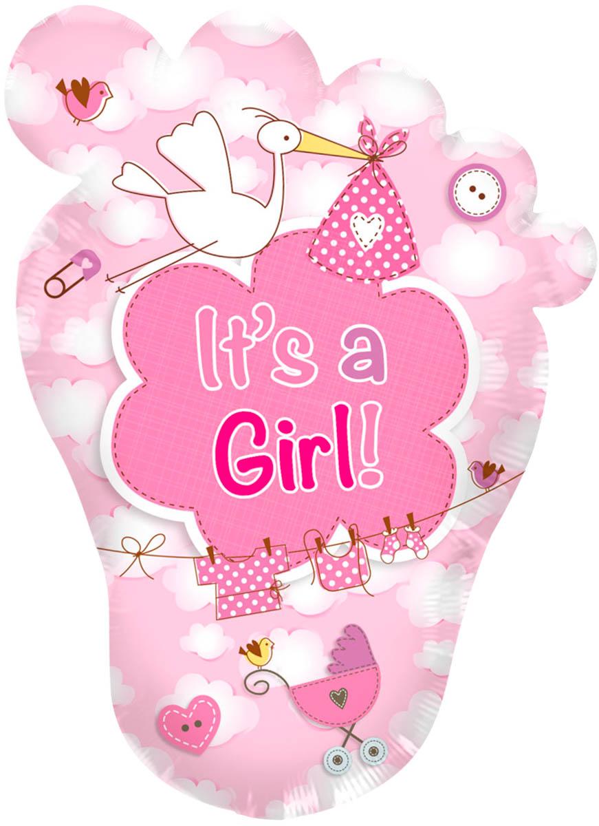 Folieballon It's a Girl voet